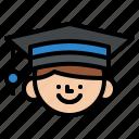 boy, degree, graduated, hat icon