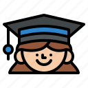 graduated, degree, girl, hat icon