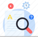 education, finding, finding solution, knowledge, learning, search of knowledge icon