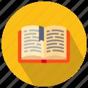 book, books, opened, teach icon