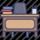 books, chair, desk, education, pencils, school, tools icon
