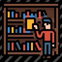 read, reading, book, library, borrow icon