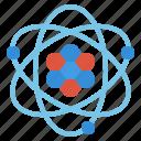 nucleus, atom, neutron, proton, electron