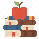 apple, knowledge, education, books, study