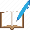 book, education, pen, read, write icon