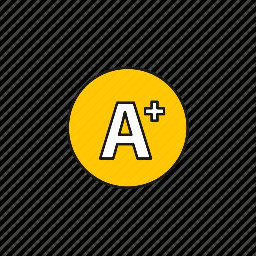 a+, achieve, best, education, grades icon