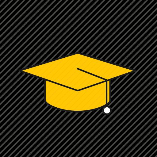 cap, graduate, graduation, graduation cap, hat icon