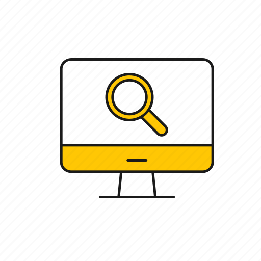 desktop, lens, magnifying glass, search icon