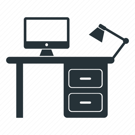 computer, home, office, place, table, work icon
