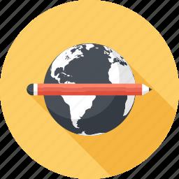 education, global, international, knowledge, online, study, world icon