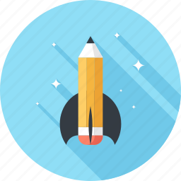 astronomy, education, pencil, research, rocket, spaceship, startup icon