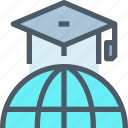 education, global, hat, learn, learning, network, school icon
