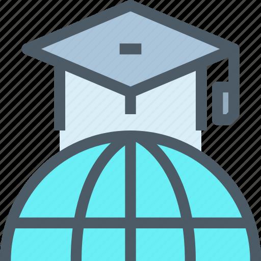 education, global, hat, learn, learning, network, school icon