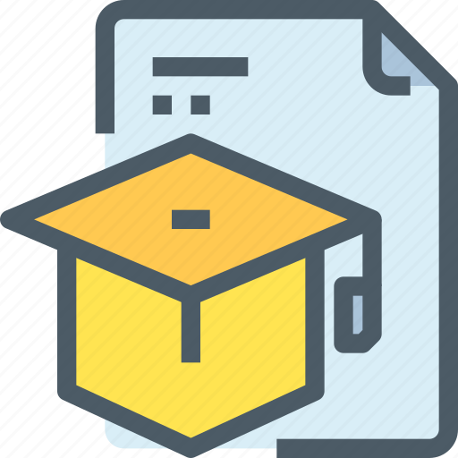 Document, education, hat, learn, learning, school icon - Download on Iconfinder