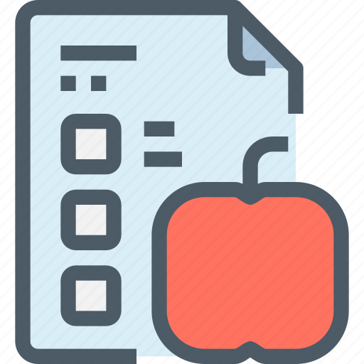 apple, document, education, learn, learning, paper, test icon
