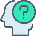education, haed, human, learning, mind, question icon