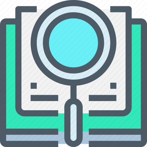 book, business, education, learning, research, search icon