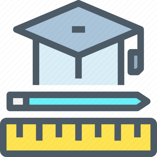education, hat, learning, pencil, school icon