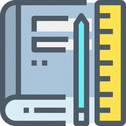 book, education, learn, learning, office, pencil icon
