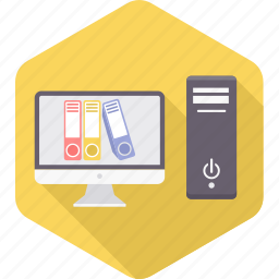 computer, cpu, files, folder, hardware, pc, record icon