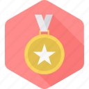 achievement, award, badge, medal, prize, reward, star icon