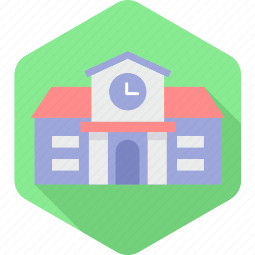 building, college, education, learning, school, time, university icon
