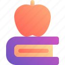 apple, book, fruit, study