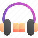 audio, book, headphone, learn icon
