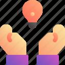 bulb, creative, hand, idea