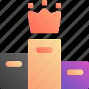 king, podium, win, winner icon