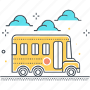 school, students, school bus, carry, education, transport icon
