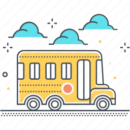 carry, education, school, school bus, students, transport icon