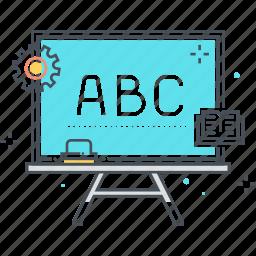 board, chalk, education, letter, letters, student, teacher icon