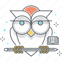 bird, education, lesson, owl, school, university, wisdom icon