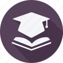 education, mortarboard, reading, school, schooling, student, study icon