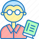 book, glasses, student, teacher icon