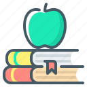 apple, book, knowledge, learn, study icon