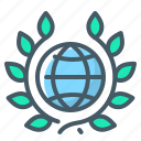 achievement, globe, laurels, praise, wreath