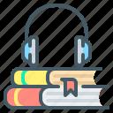 audio, audio book, book, headphones