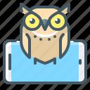application, mobile, mobile application, mobile education, online, online education, owl icon