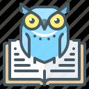 book, education, knowledge, owl, wisdom icon