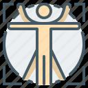 anatomy, human, philosophy, science, vitruvian, vitruvian human icon