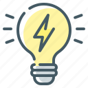 electricity, idea, science, physics, bulb, light icon