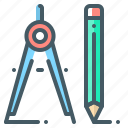 dividers, pencil, project, tools icon