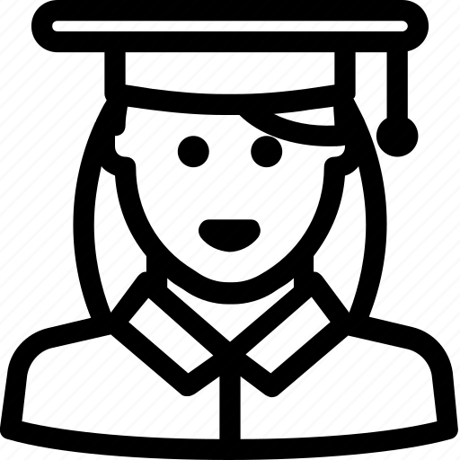 avatar, female, school, student, university, user icon