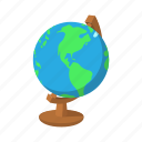 cartoon, globe, green, map, school, water, world icon