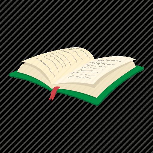 Cartoon Diary: Book, Cartoon, Diary, Note, Notepad, Open, Pencil Icon