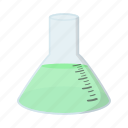 beaker, cartoon, chemistry, flask, glass, isoled, tube icon
