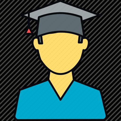 boy, education, graduate, graduation, male, student, university icon