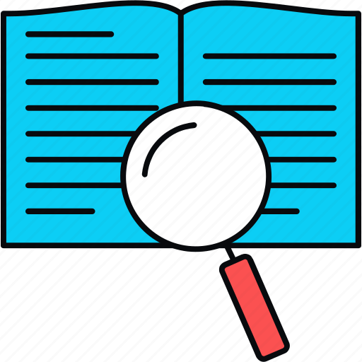 book, reading, search, study icon
